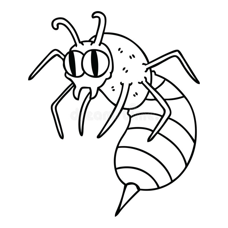 A creative quirky line drawing cartoon wasp. An original creative quirky line drawing cartoon wasp stock illustration