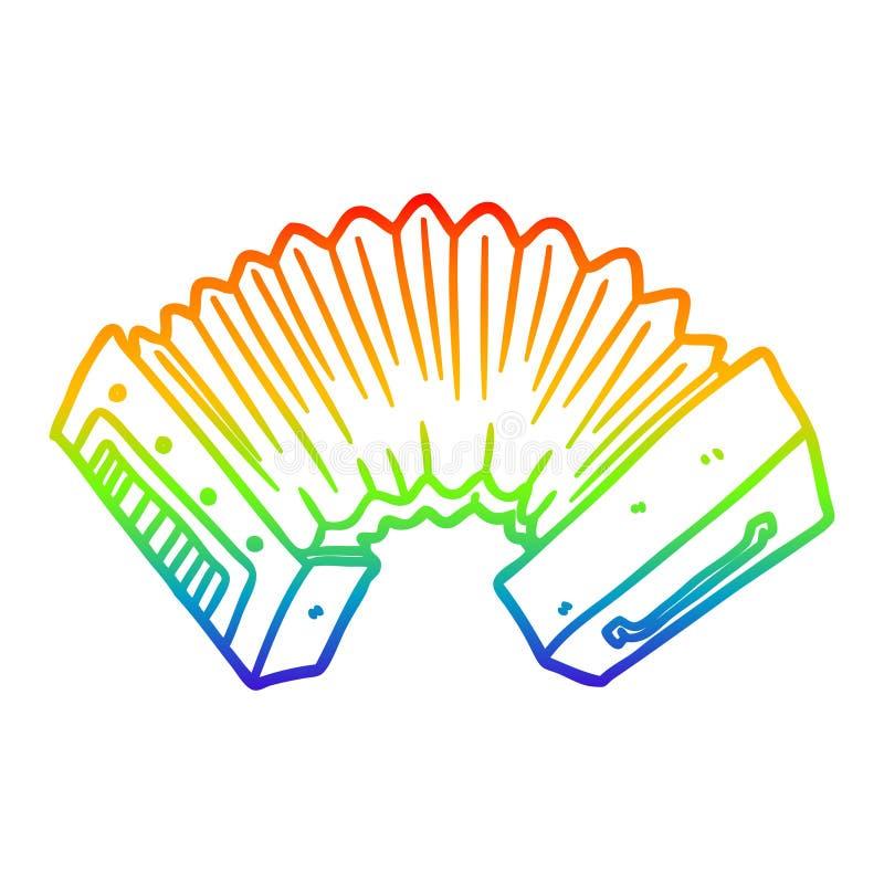 A creative rainbow gradient line drawing cartoon accordion. An original creative rainbow gradient line drawing cartoon accordion stock illustration