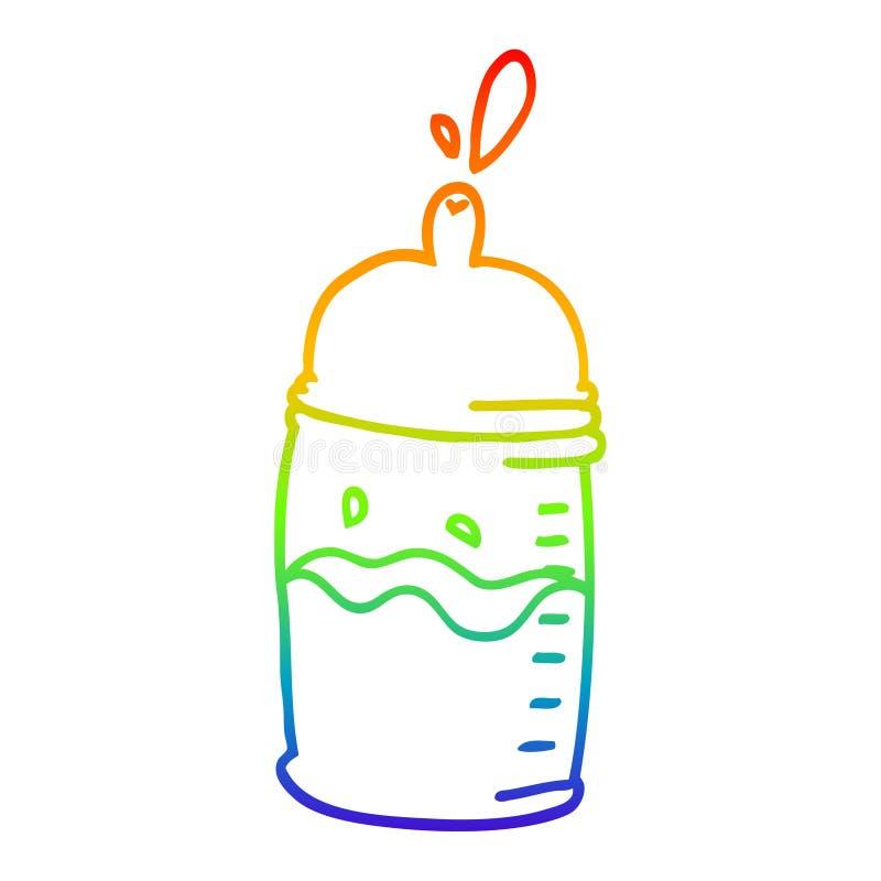 A creative rainbow gradient line drawing cartoon baby bottle. An original creative rainbow gradient line drawing cartoon baby bottle royalty free illustration
