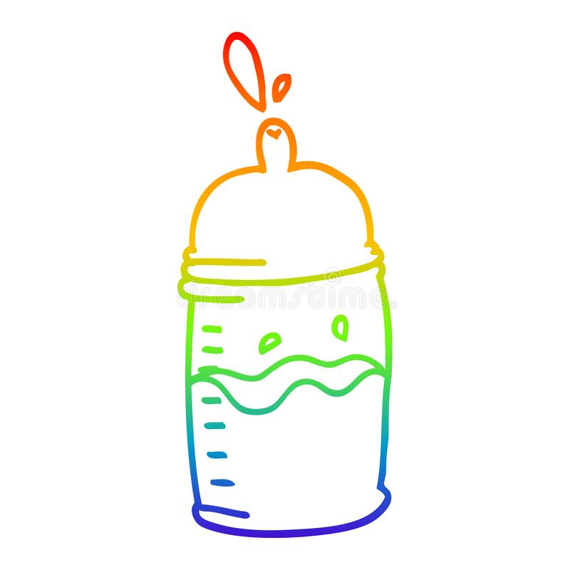 A creative rainbow gradient line drawing cartoon baby bottle. An original creative rainbow gradient line drawing cartoon baby bottle vector illustration
