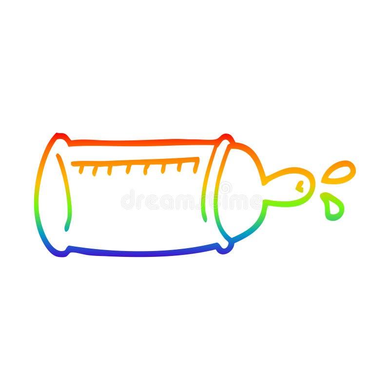 A creative rainbow gradient line drawing cartoon baby bottle. An original creative rainbow gradient line drawing cartoon baby bottle stock illustration