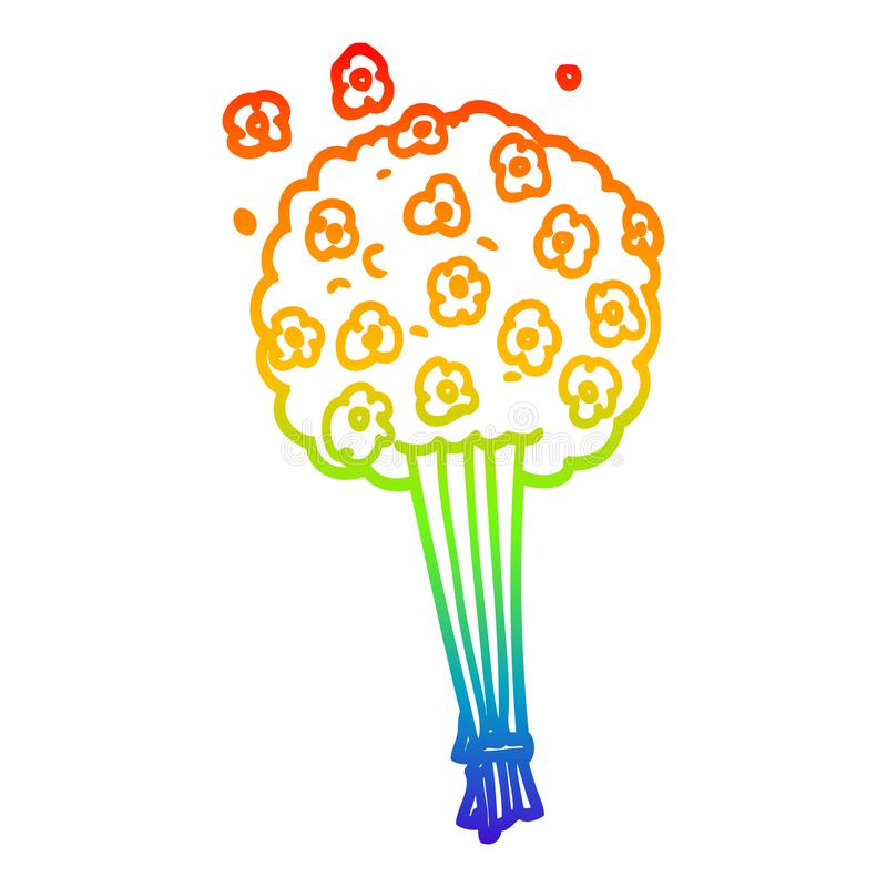A creative rainbow gradient line drawing cartoon bunch of flowers. An original creative rainbow gradient line drawing cartoon bunch of flowers royalty free illustration