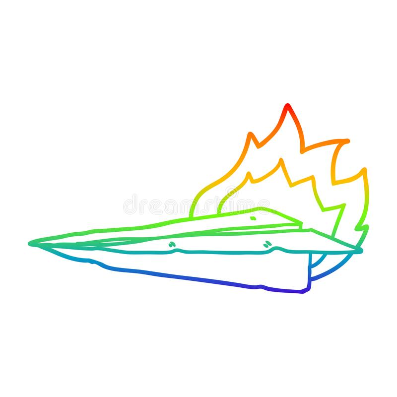 A creative rainbow gradient line drawing cartoon burning paper airplane. An original creative rainbow gradient line drawing cartoon burning paper airplane royalty free illustration