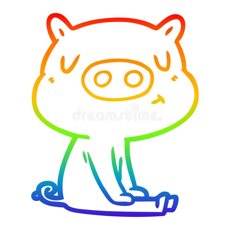 A creative rainbow gradient line drawing cartoon content pig meditating. An original creative rainbow gradient line drawing cartoon content pig meditating vector illustration