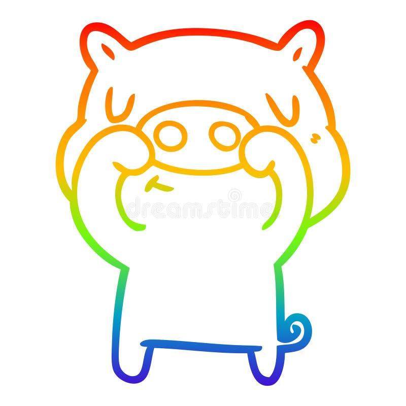 A creative rainbow gradient line drawing cartoon content pig. An original creative rainbow gradient line drawing cartoon content pig vector illustration