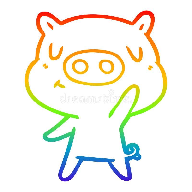 A creative rainbow gradient line drawing cartoon content pig. An original creative rainbow gradient line drawing cartoon content pig royalty free illustration