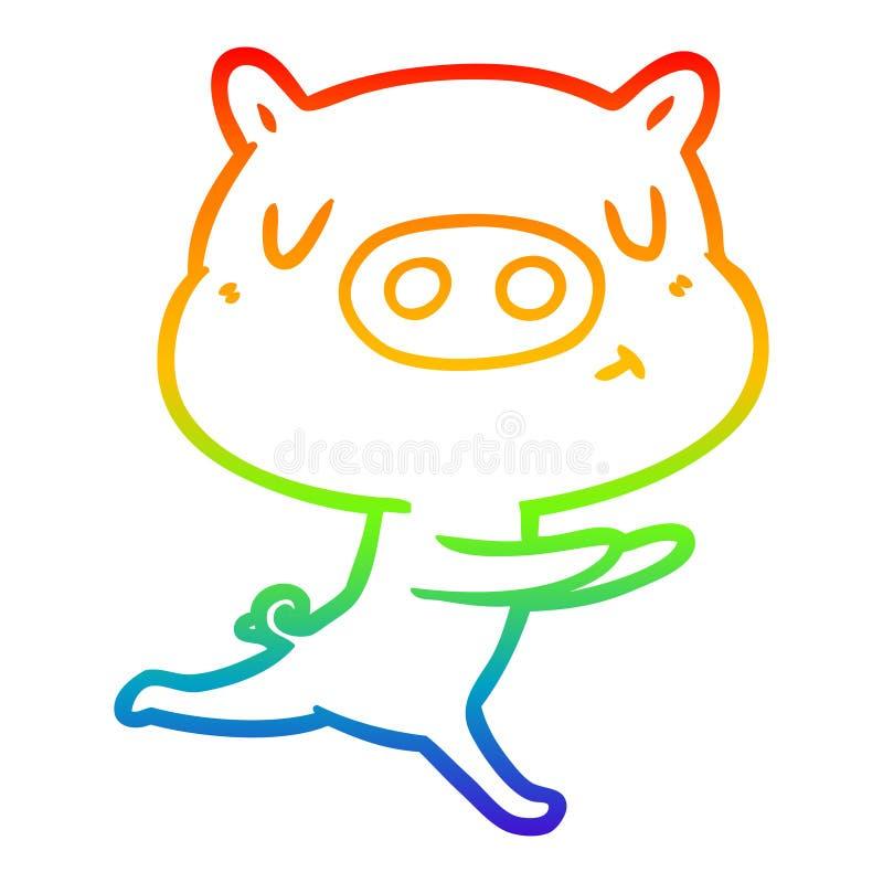A creative rainbow gradient line drawing cartoon content pig running. An original creative rainbow gradient line drawing cartoon content pig running royalty free illustration