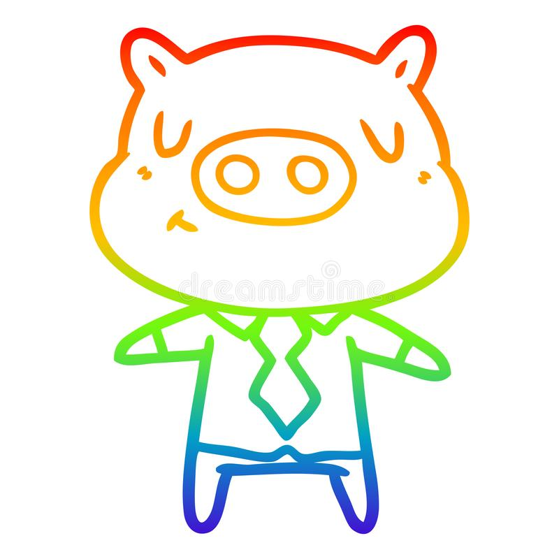 A creative rainbow gradient line drawing cartoon content pig in shirt and tie. An original creative rainbow gradient line drawing cartoon content pig in shirt vector illustration
