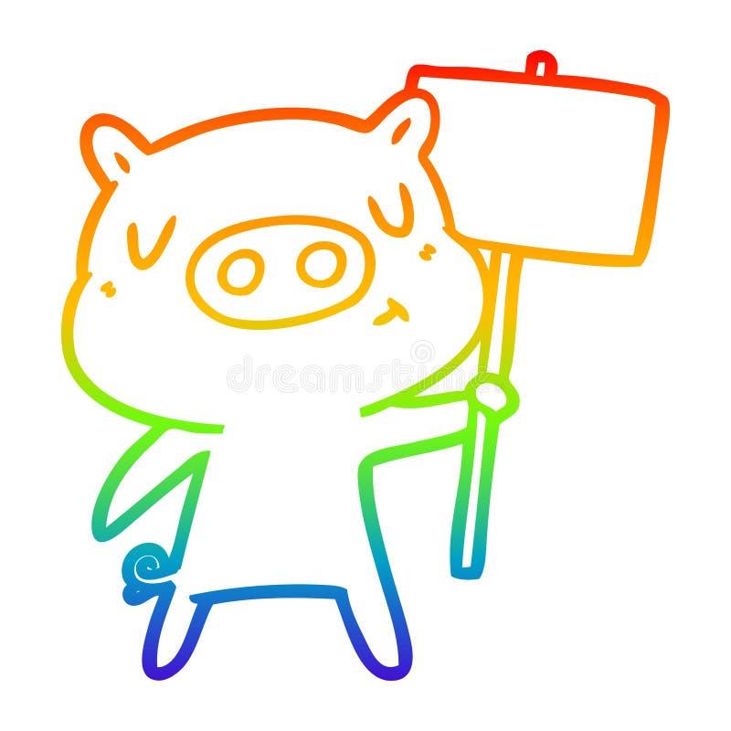 A creative rainbow gradient line drawing cartoon content pig signpost;sign. An original creative rainbow gradient line drawing cartoon content pig signpost;sign vector illustration