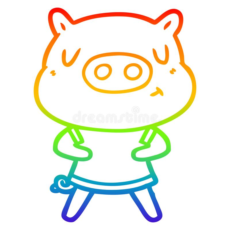 A creative rainbow gradient line drawing cartoon content pig wearing t shirt. An original creative rainbow gradient line drawing cartoon content pig wearing t royalty free illustration