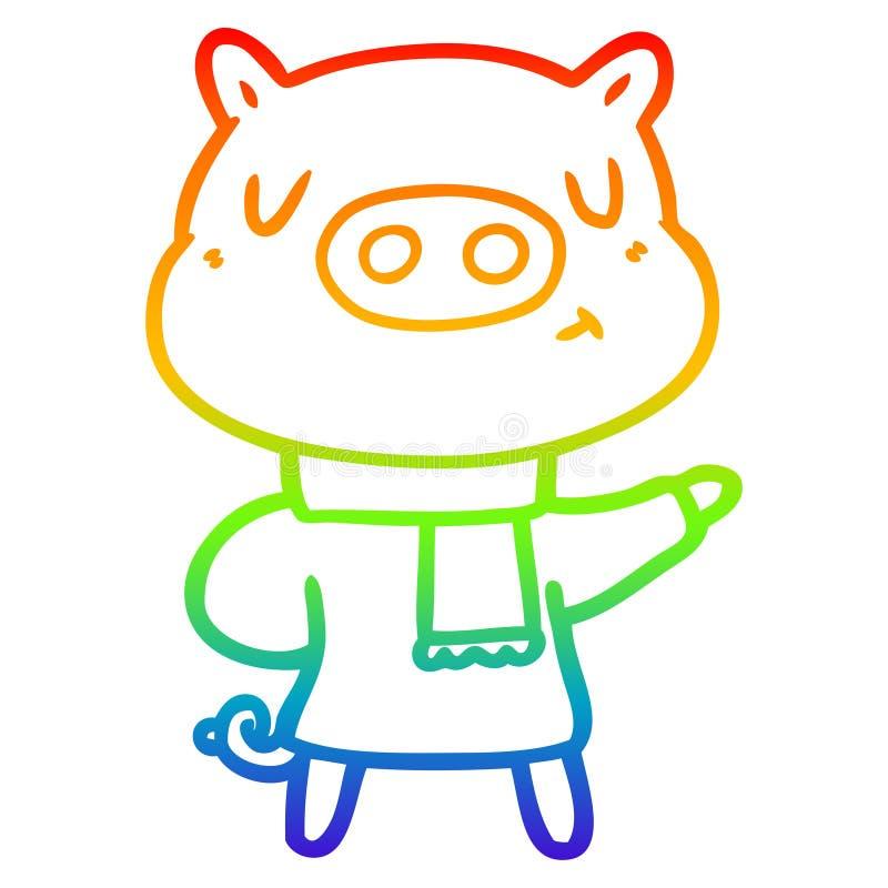 A creative rainbow gradient line drawing cartoon content pig in winter attire. An original creative rainbow gradient line drawing cartoon content pig in winter stock illustration
