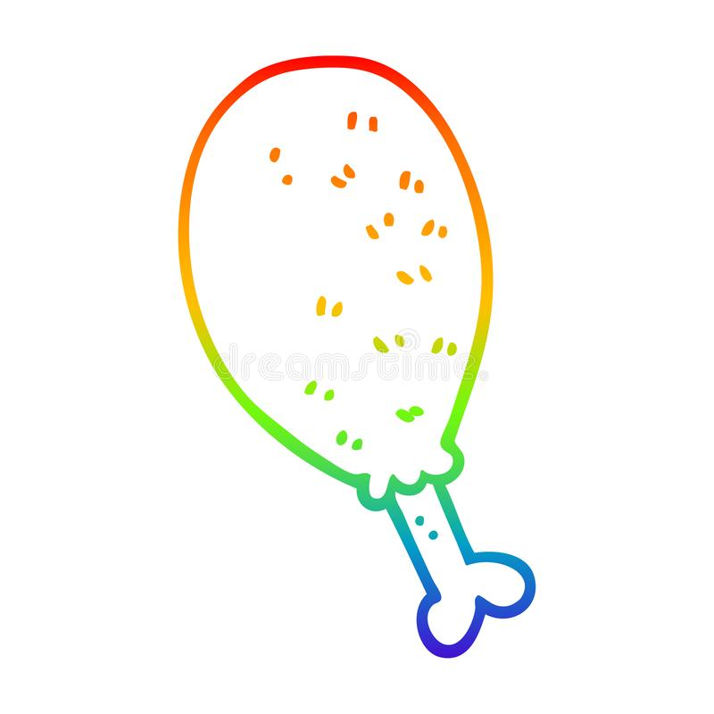A creative rainbow gradient line drawing cartoon cooked chicken leg. An original creative rainbow gradient line drawing cartoon cooked chicken leg royalty free illustration