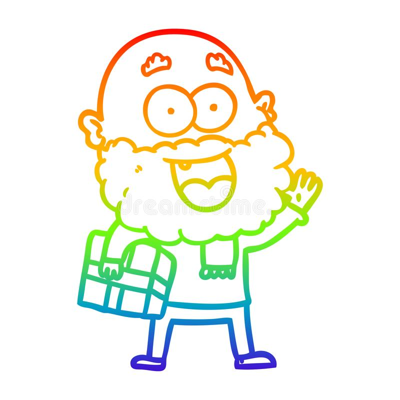 A creative rainbow gradient line drawing cartoon crazy happy man with beard and gift under arm vector illustration