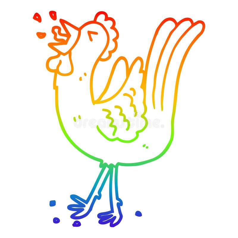 A creative rainbow gradient line drawing cartoon crowing cockerel. An original creative rainbow gradient line drawing cartoon crowing cockerel stock illustration