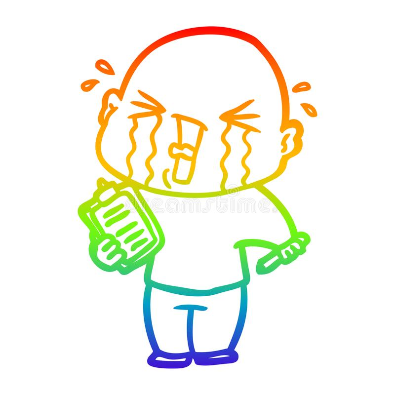 A creative rainbow gradient line drawing cartoon crying man with clipboard. An original creative rainbow gradient line drawing cartoon crying man with clipboard vector illustration