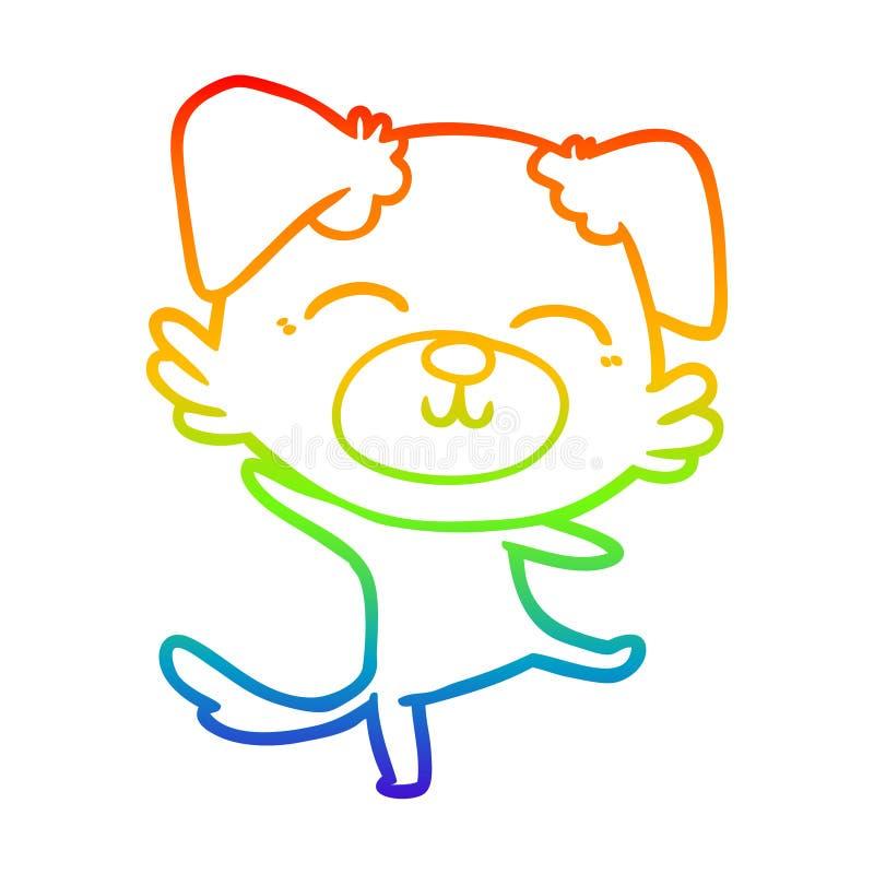 A creative rainbow gradient line drawing cartoon dog doing a happy dance. An original creative rainbow gradient line drawing cartoon dog doing a happy dance royalty free illustration