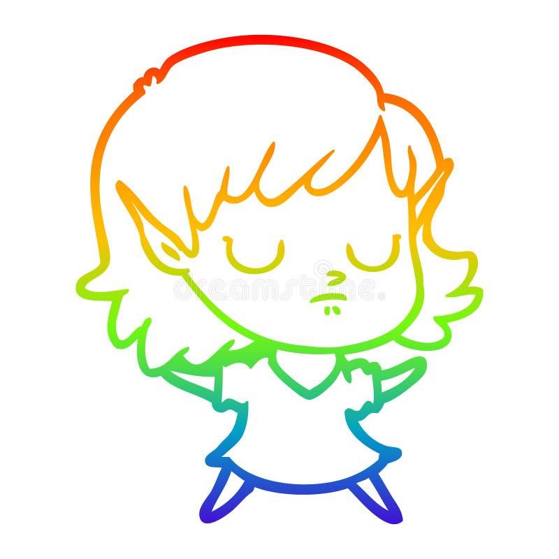 A creative rainbow gradient line drawing cartoon elf girl stock images