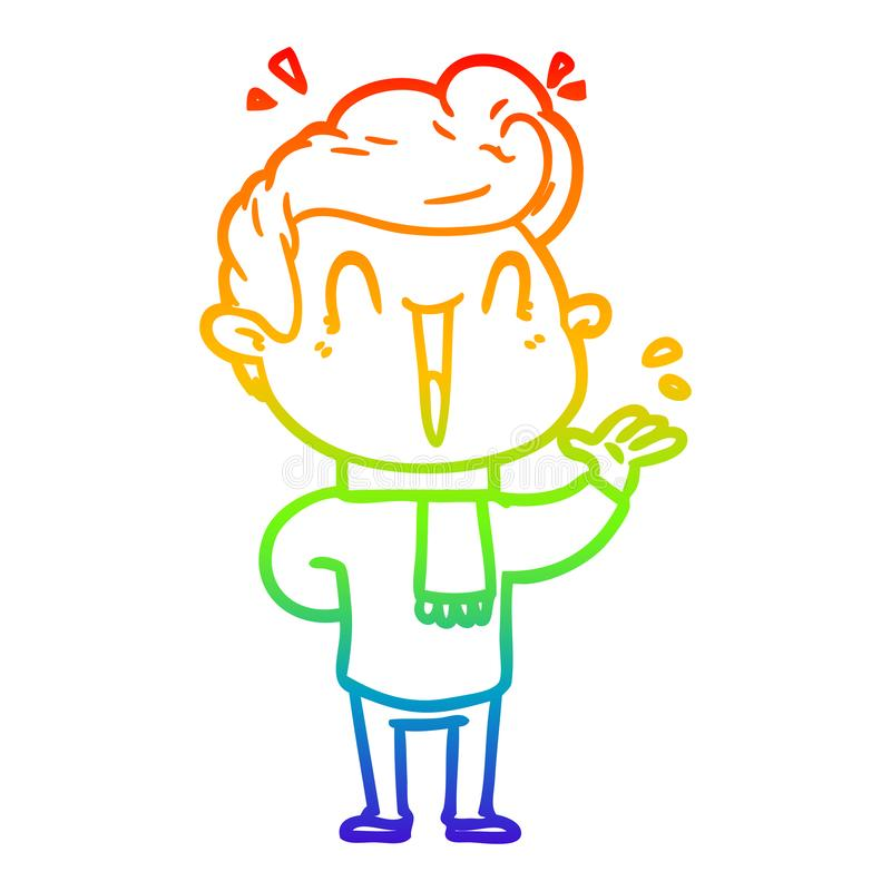 A creative rainbow gradient line drawing cartoon excited man stock photos