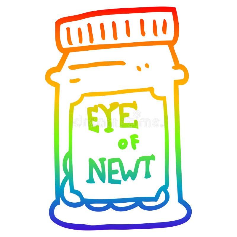 A creative rainbow gradient line drawing cartoon eye of newt bottle stock illustration