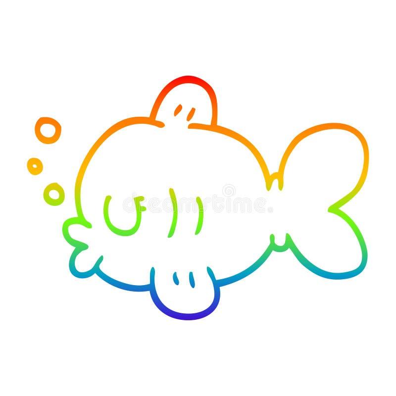 A creative rainbow gradient line drawing cartoon fish swimming. An original creative rainbow gradient line drawing cartoon fish swimming vector illustration