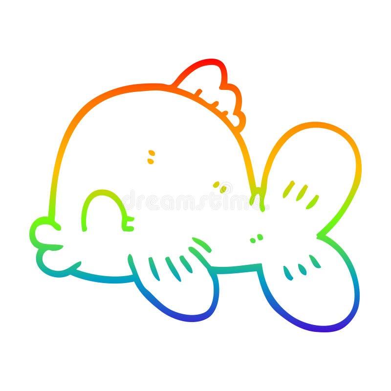 A creative rainbow gradient line drawing cartoon fish swimming. An original creative rainbow gradient line drawing cartoon fish swimming stock illustration