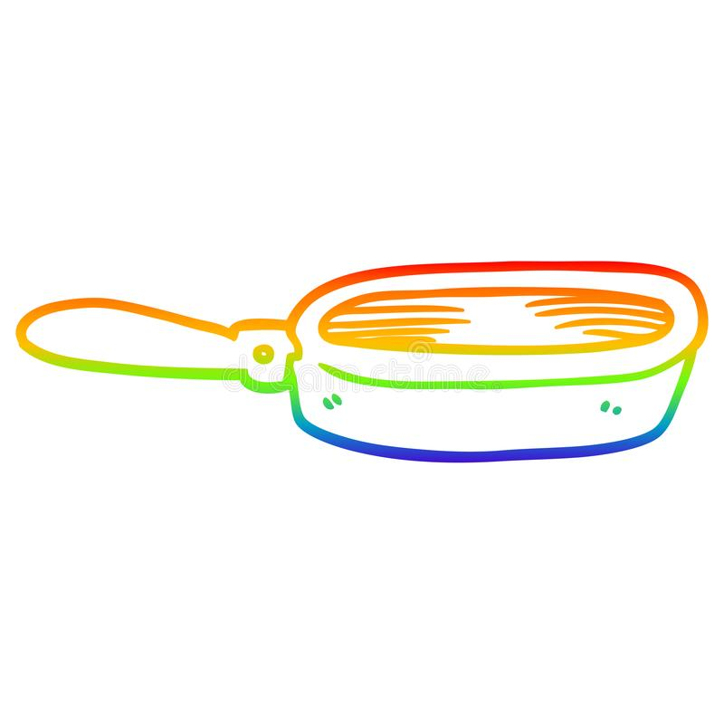 A creative rainbow gradient line drawing cartoon frying pan. An original creative rainbow gradient line drawing cartoon frying pan royalty free illustration