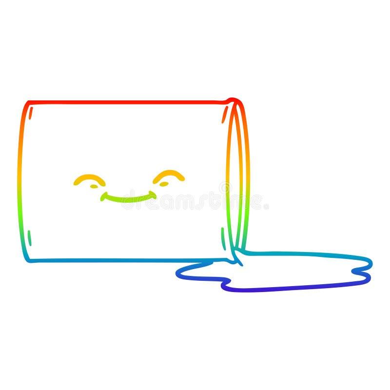 A creative rainbow gradient line drawing cartoon happy oil drum. An original creative rainbow gradient line drawing cartoon happy oil drum royalty free illustration