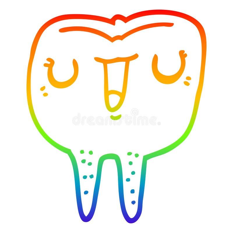 A creative rainbow gradient line drawing cartoon happy tooth. An original creative rainbow gradient line drawing cartoon happy tooth royalty free illustration
