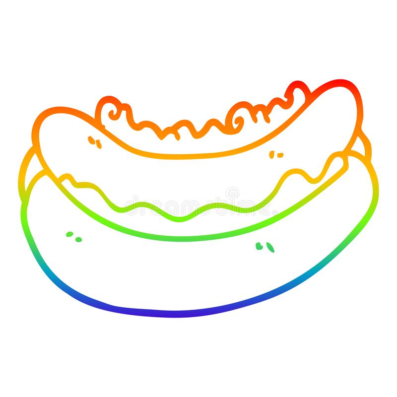 A creative rainbow gradient line drawing cartoon hotdog. An original creative rainbow gradient line drawing cartoon hotdog royalty free illustration