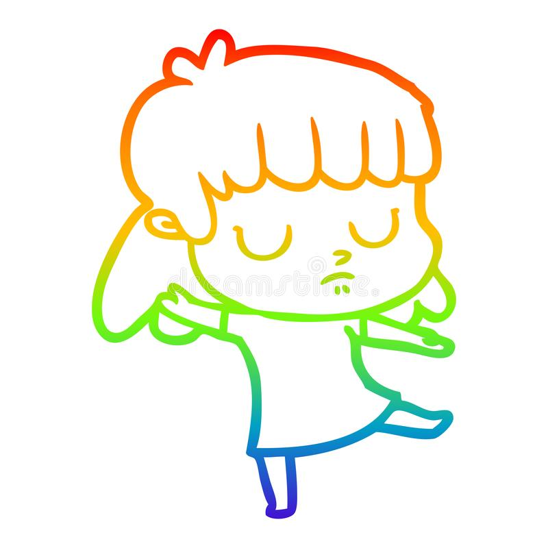 A creative rainbow gradient line drawing cartoon indifferent woman dancing. An original creative rainbow gradient line drawing cartoon indifferent woman dancing royalty free illustration