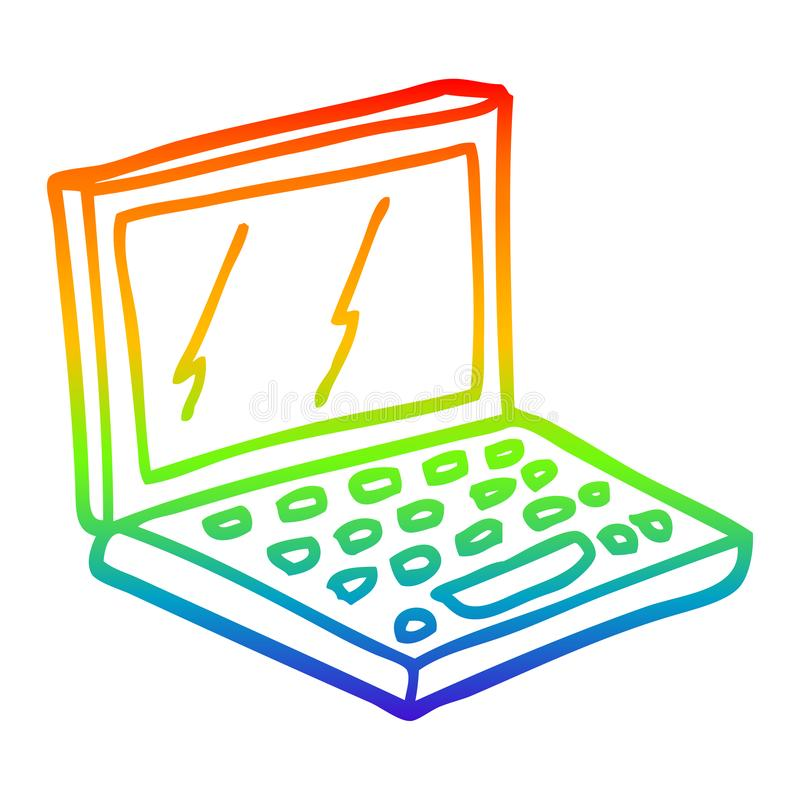 A creative rainbow gradient line drawing cartoon laptop computer. An original creative rainbow gradient line drawing cartoon laptop computer royalty free illustration