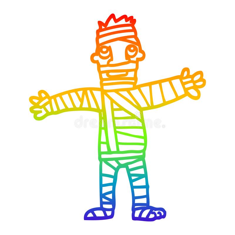 A creative rainbow gradient line drawing cartoon man in bandages. An original creative rainbow gradient line drawing cartoon man in bandages stock illustration