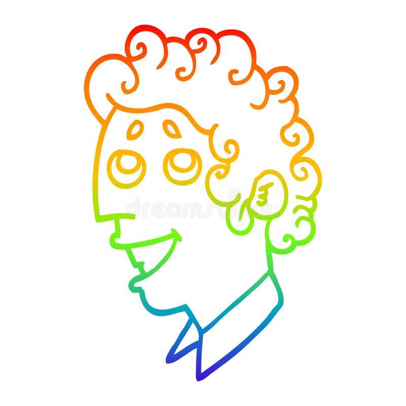 A creative rainbow gradient line drawing cartoon man face. An original creative rainbow gradient line drawing cartoon man face vector illustration