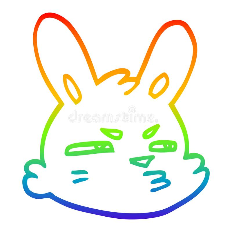 A creative rainbow gradient line drawing cartoon moody rabbit. An original creative rainbow gradient line drawing cartoon moody rabbit vector illustration