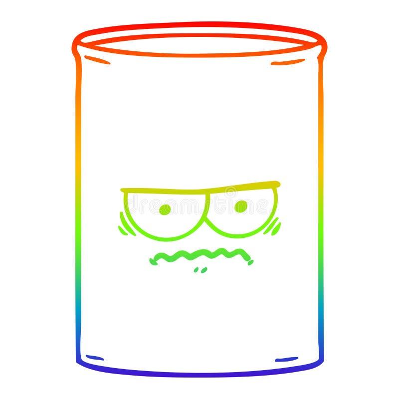 A creative rainbow gradient line drawing cartoon oil drum. An original creative rainbow gradient line drawing cartoon oil drum royalty free illustration