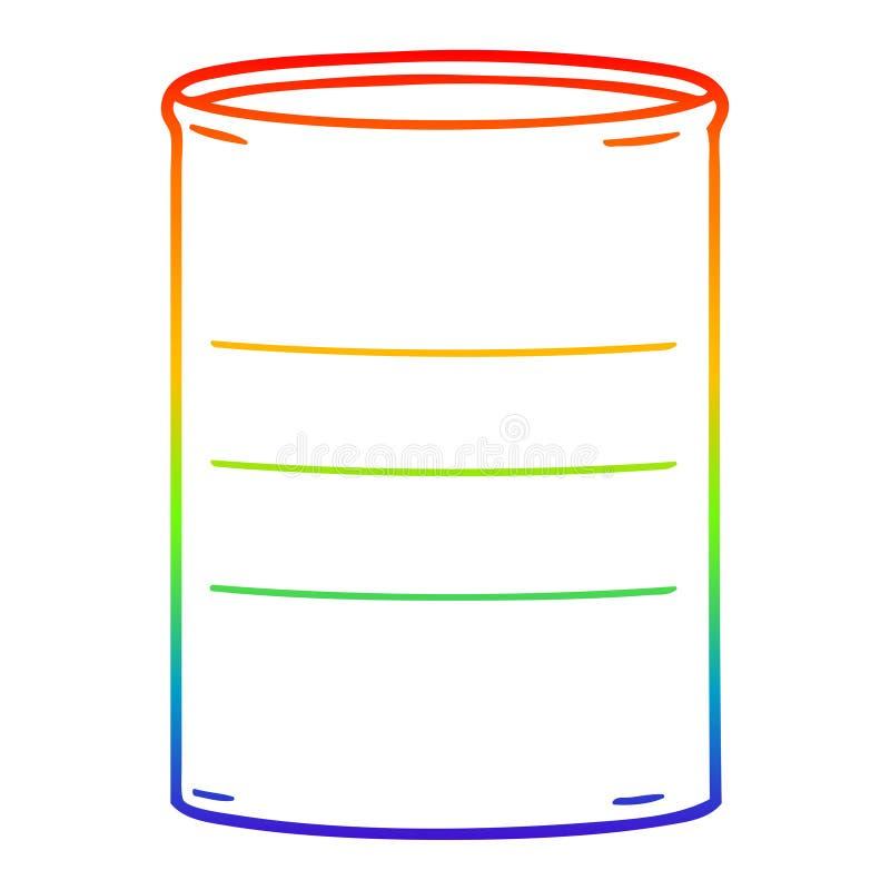 A creative rainbow gradient line drawing cartoon oil drum. An original creative rainbow gradient line drawing cartoon oil drum vector illustration