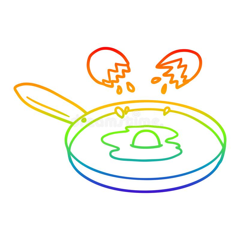 A creative rainbow gradient line drawing cartoon pan frying egg. An original creative rainbow gradient line drawing cartoon pan frying egg vector illustration