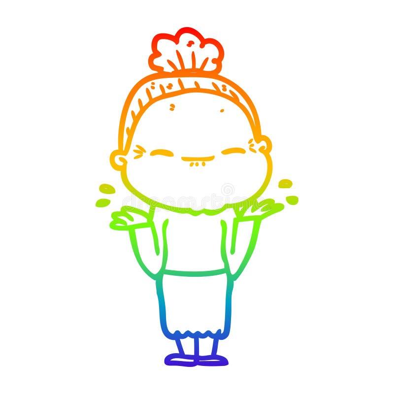 A creative rainbow gradient line drawing cartoon peaceful old woman. An original creative rainbow gradient line drawing cartoon peaceful old woman vector illustration