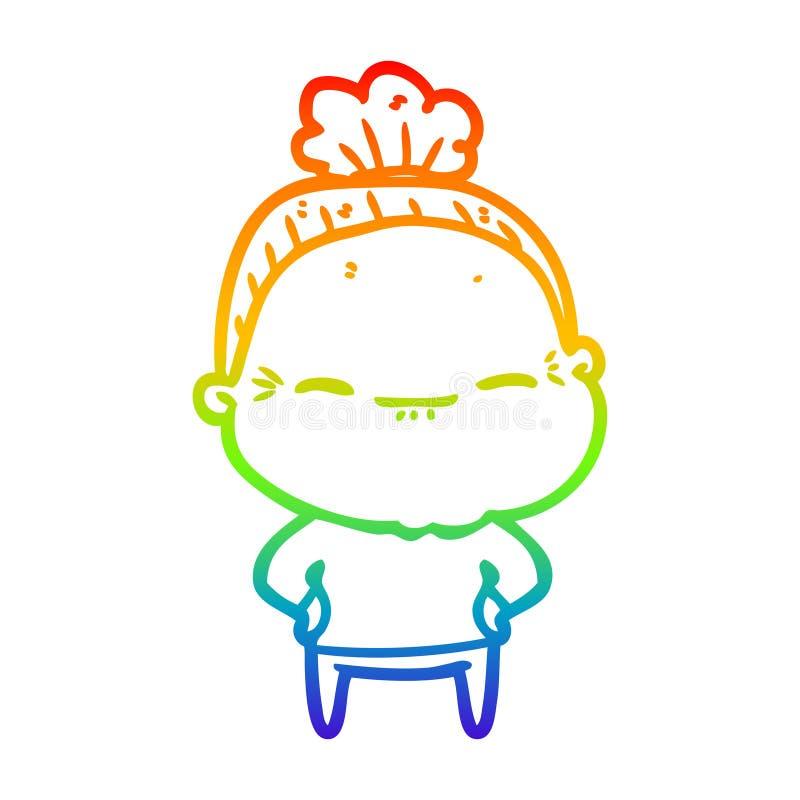 A creative rainbow gradient line drawing cartoon peaceful old woman. An original creative rainbow gradient line drawing cartoon peaceful old woman stock illustration