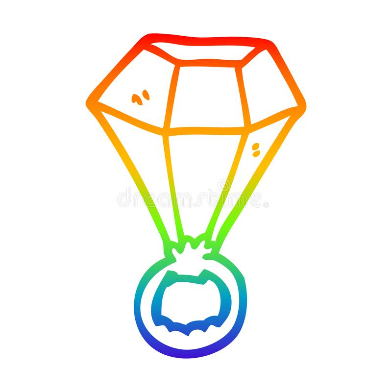 A creative rainbow gradient line drawing cartoon red ruby ring. An original creative rainbow gradient line drawing cartoon red ruby ring royalty free illustration