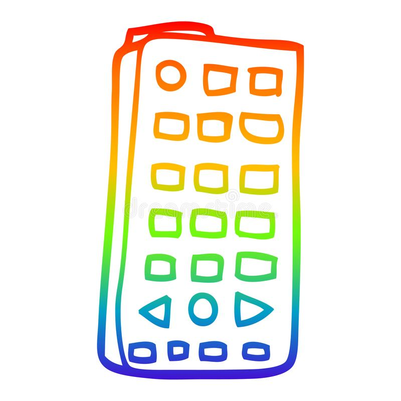 A creative rainbow gradient line drawing cartoon remote control. An original creative rainbow gradient line drawing cartoon remote control royalty free illustration