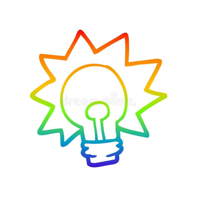 A creative rainbow gradient line drawing cartoon shining light bulb. An original creative rainbow gradient line drawing cartoon shining light bulb vector illustration