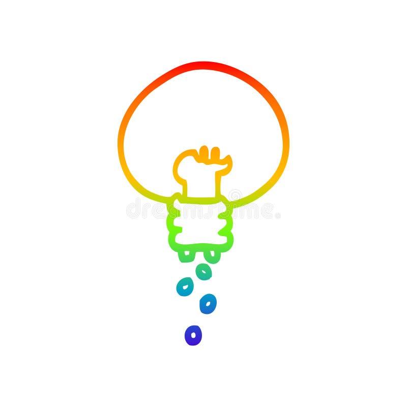 A creative rainbow gradient line drawing cartoon shining light bulb. An original creative rainbow gradient line drawing cartoon shining light bulb royalty free illustration