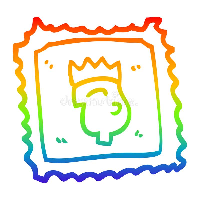 Stamp Mail Postage King Royal Face Crown Cartoon Rainbow