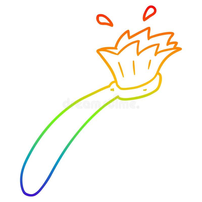 A creative rainbow gradient line drawing cartoon tooth brush. An original creative rainbow gradient line drawing cartoon tooth brush stock illustration