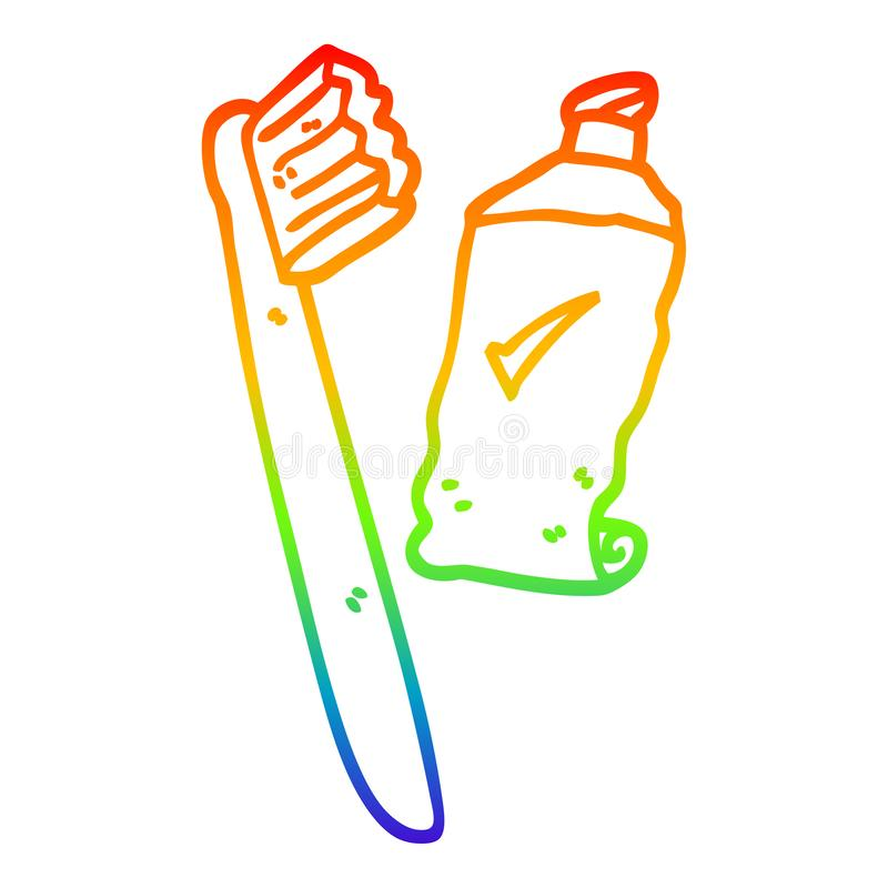 A creative rainbow gradient line drawing cartoon tooth brush and paste. An original creative rainbow gradient line drawing cartoon tooth brush and paste stock illustration