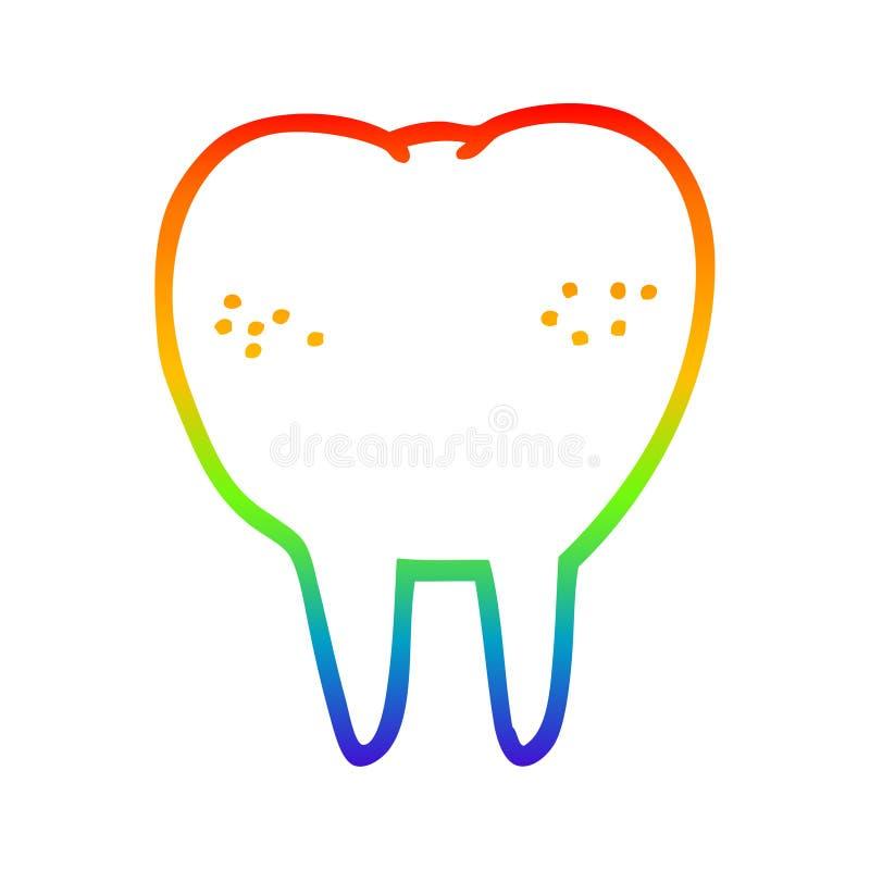 A creative rainbow gradient line drawing cartoon tooth. An original creative rainbow gradient line drawing cartoon tooth royalty free illustration