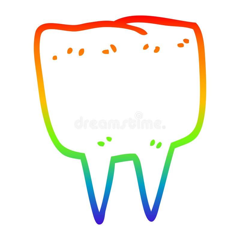 A creative rainbow gradient line drawing cartoon tooth. An original creative rainbow gradient line drawing cartoon tooth stock illustration
