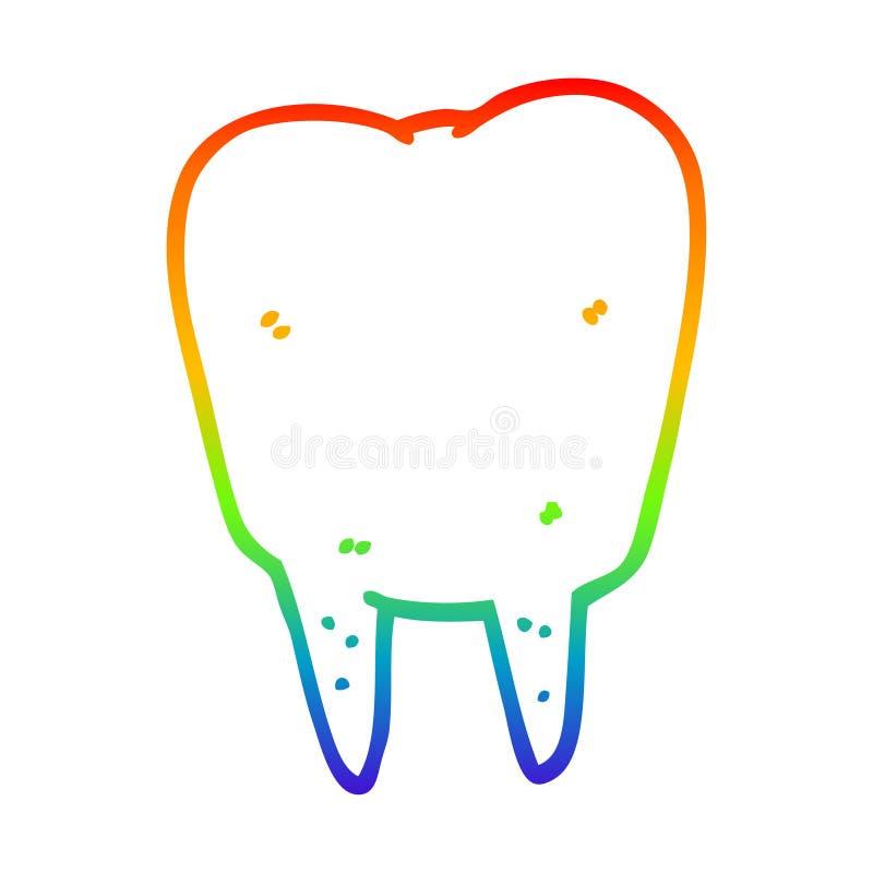 A creative rainbow gradient line drawing cartoon tooth. An original creative rainbow gradient line drawing cartoon tooth vector illustration