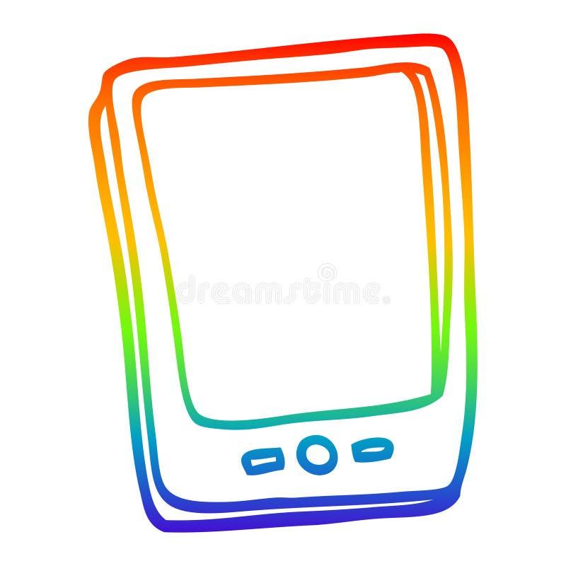 A creative rainbow gradient line drawing cartoon touch screen mobile. An original creative rainbow gradient line drawing cartoon touch screen mobile vector illustration